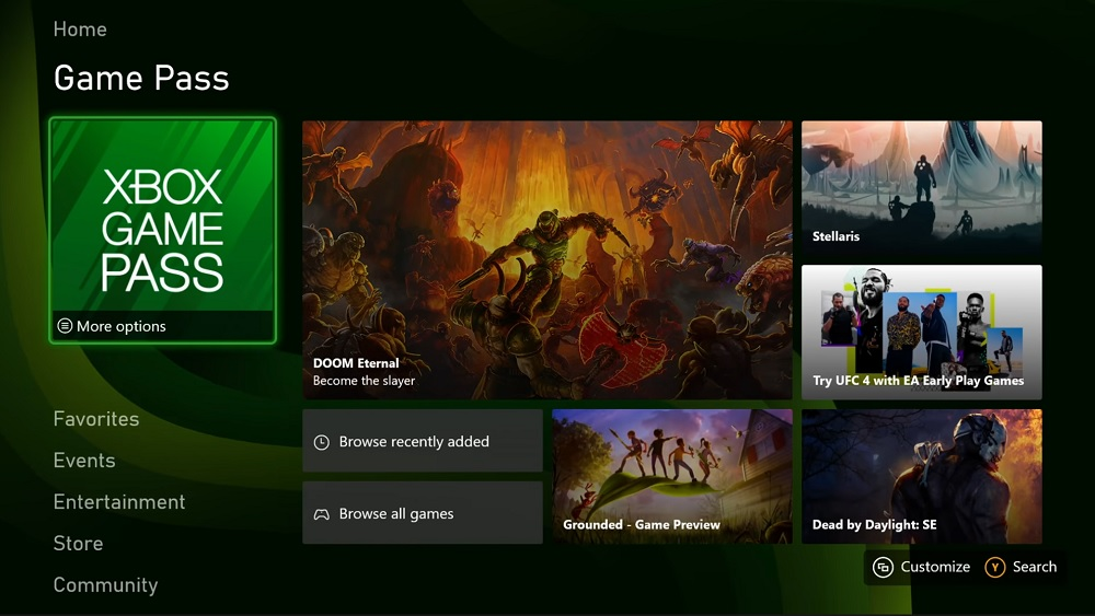 Xbox UI game pass