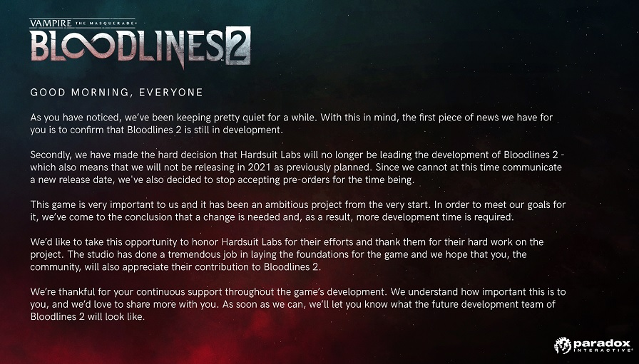 bloodlines 2 cancelled